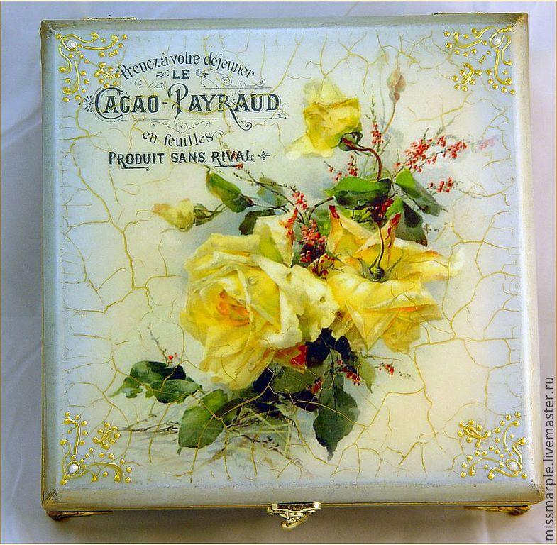Купить Шкатулка  Желтые розы - голубой, Декупаж, декупаж шкатулки, желтые розы, подарок