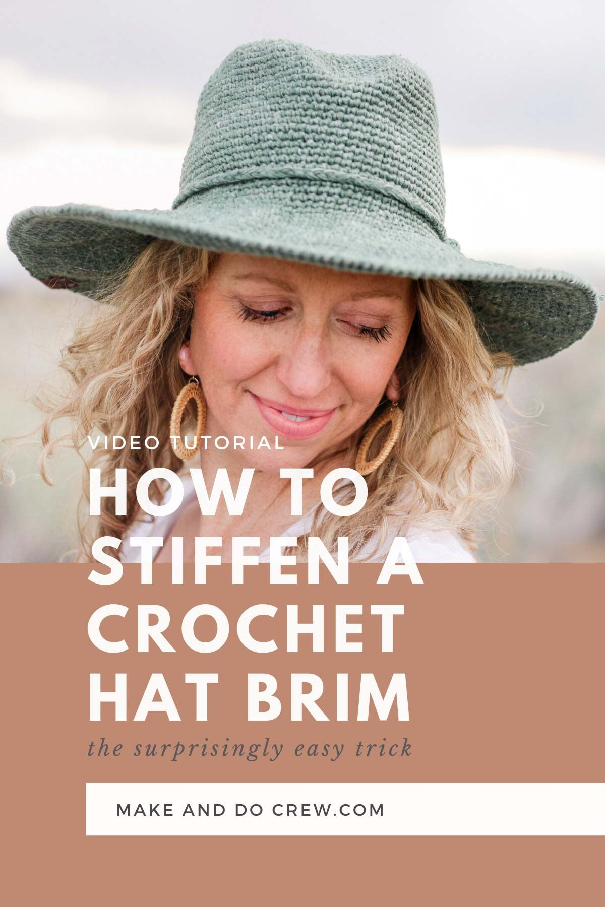 With this simple, inexpensive trick, you'll learn how to stiffen the brim of any crochet hat without using starch. When you add a wire to your sun hat like this, it remains flexible + packable! Video tutorial with free pattern from Make & Do Crew.  #makeanddocrew #crochetsunhat #crochetvideotutorial