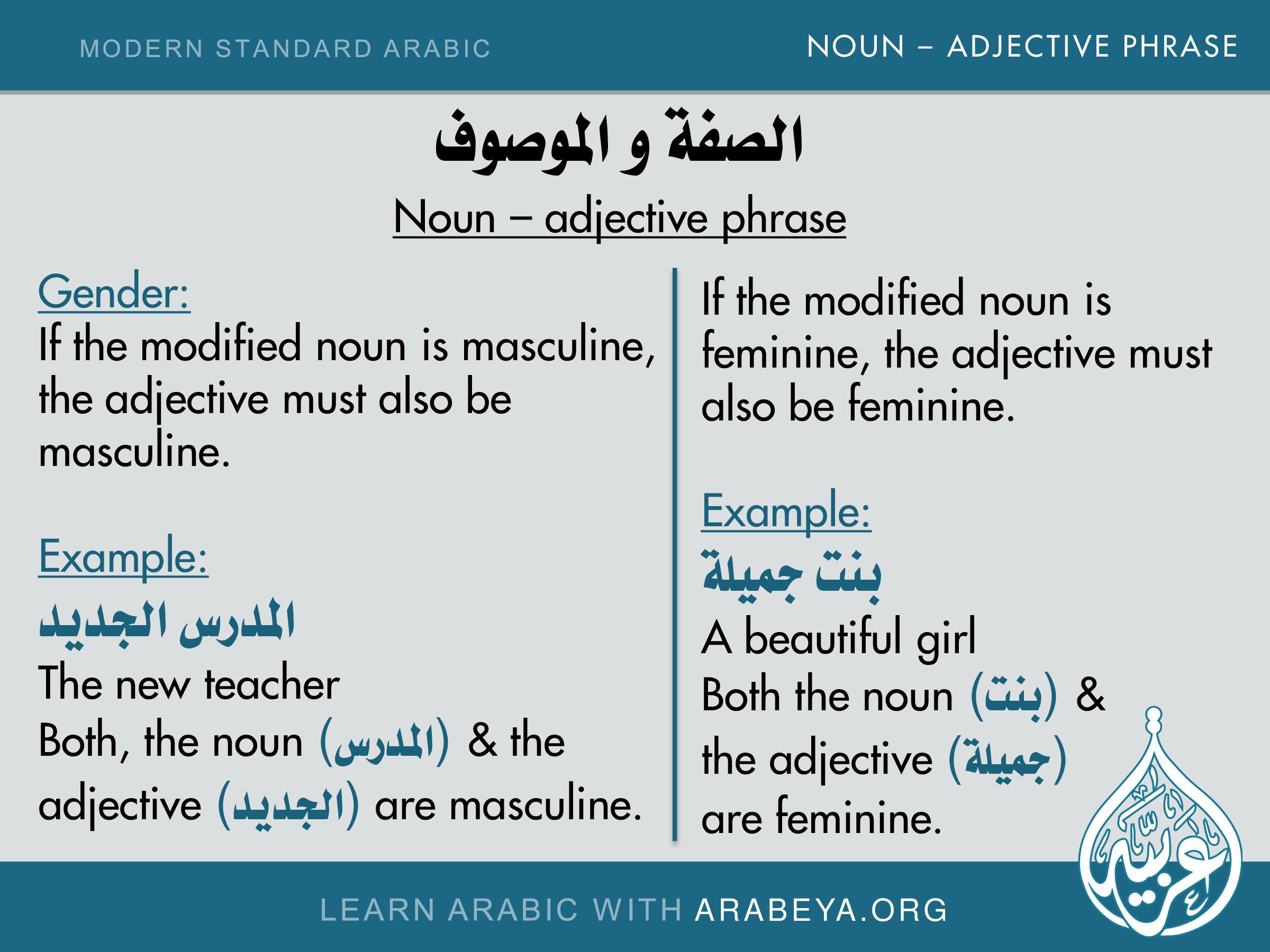 Noun Adjective Phrase Gender