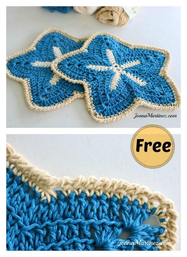Elegant Starfish Dishcloths Free Crochet Pattern Pinterest Free