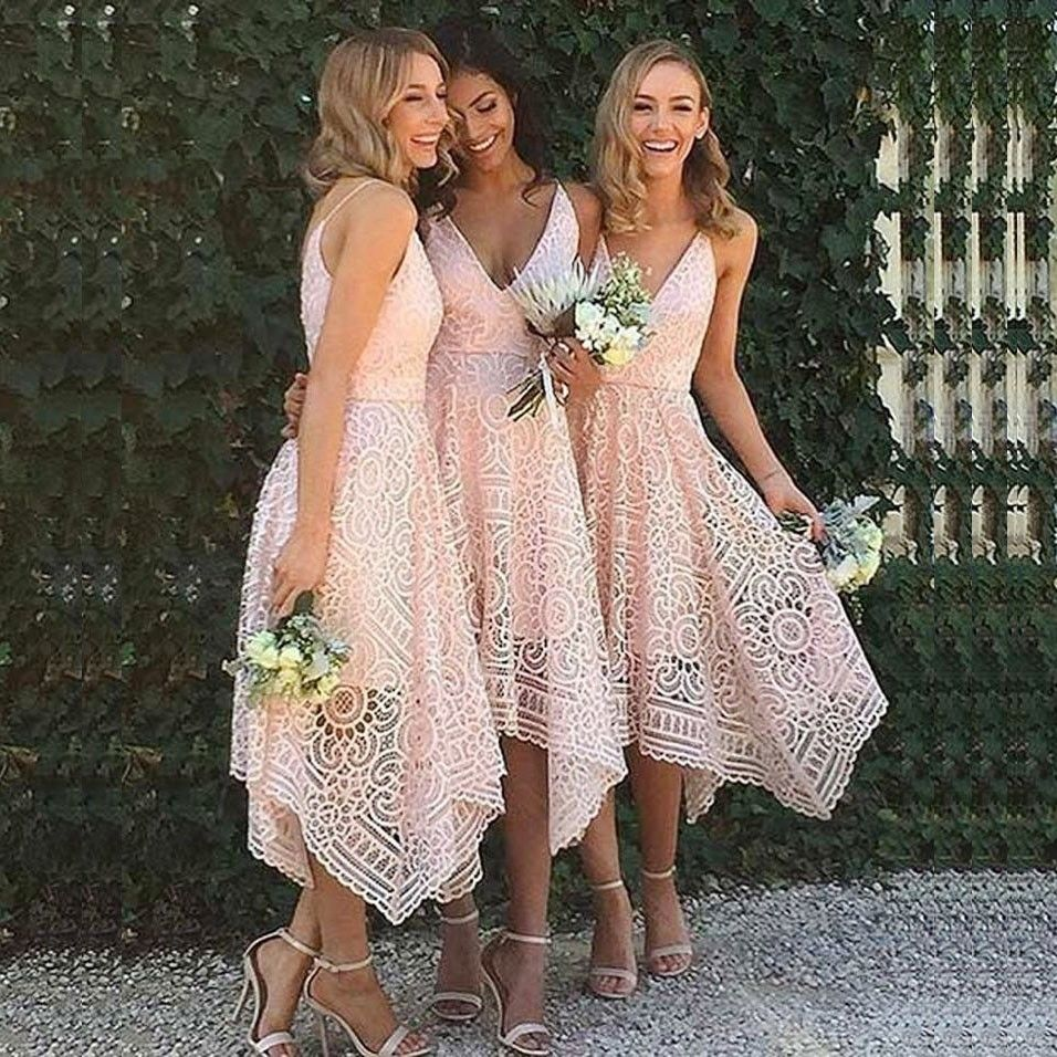 A line asymmetrical v neck pearl pink lace homecomingbridesmaid a line asymmetrical v neck pearl pink lace homecomingbridesmaidprom dress nautical weddingbeach ombrellifo Image collections