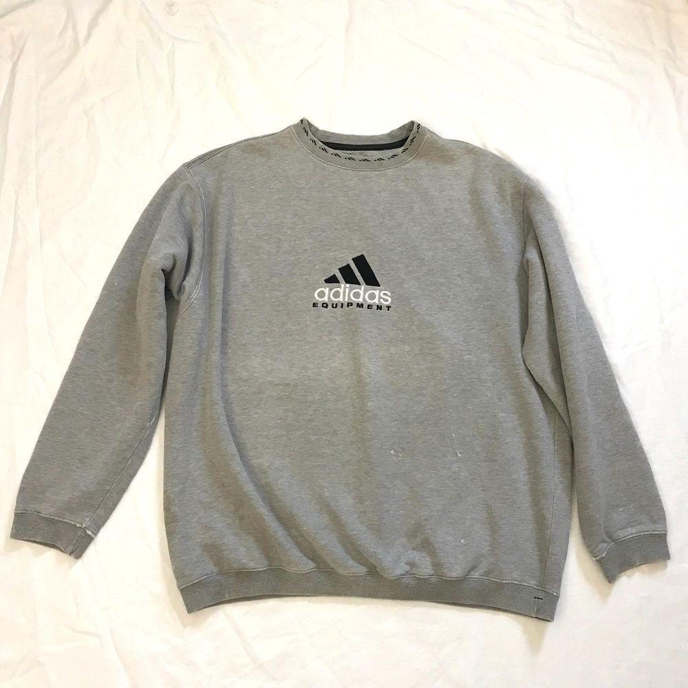 Adidas Equipment Vtg 90s Mens Size L Gray Embroidered Trefoil Sweatshirt Adidas Sweatshirt Hoodie Jersey Long Sleeve Tshirt Men Vintage Adidas