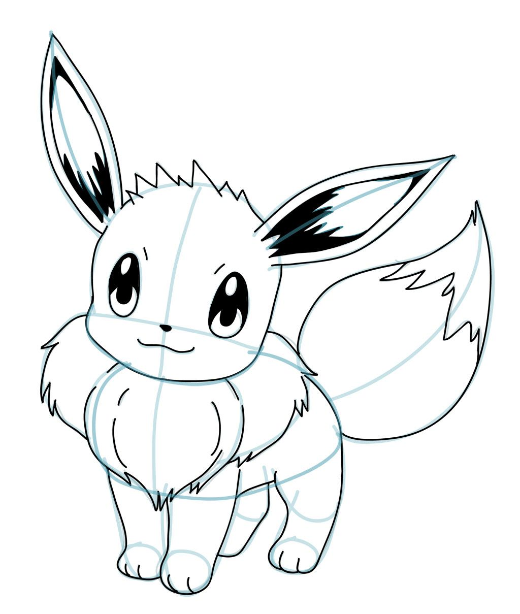 Drawing Eevee Pokemon Tutorial drawing in 2019 Easy