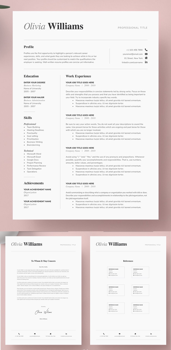 One Page Resume Template Kit One Page Resume Template One Page Resume Simple Resume Template