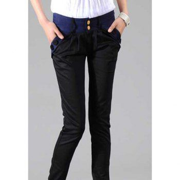 Botón dulce y adornado con cremallera de color Pantalones diseño de bloques al lápiz para la Mujer para Vender - La Tienda En Online IGOGO.ES