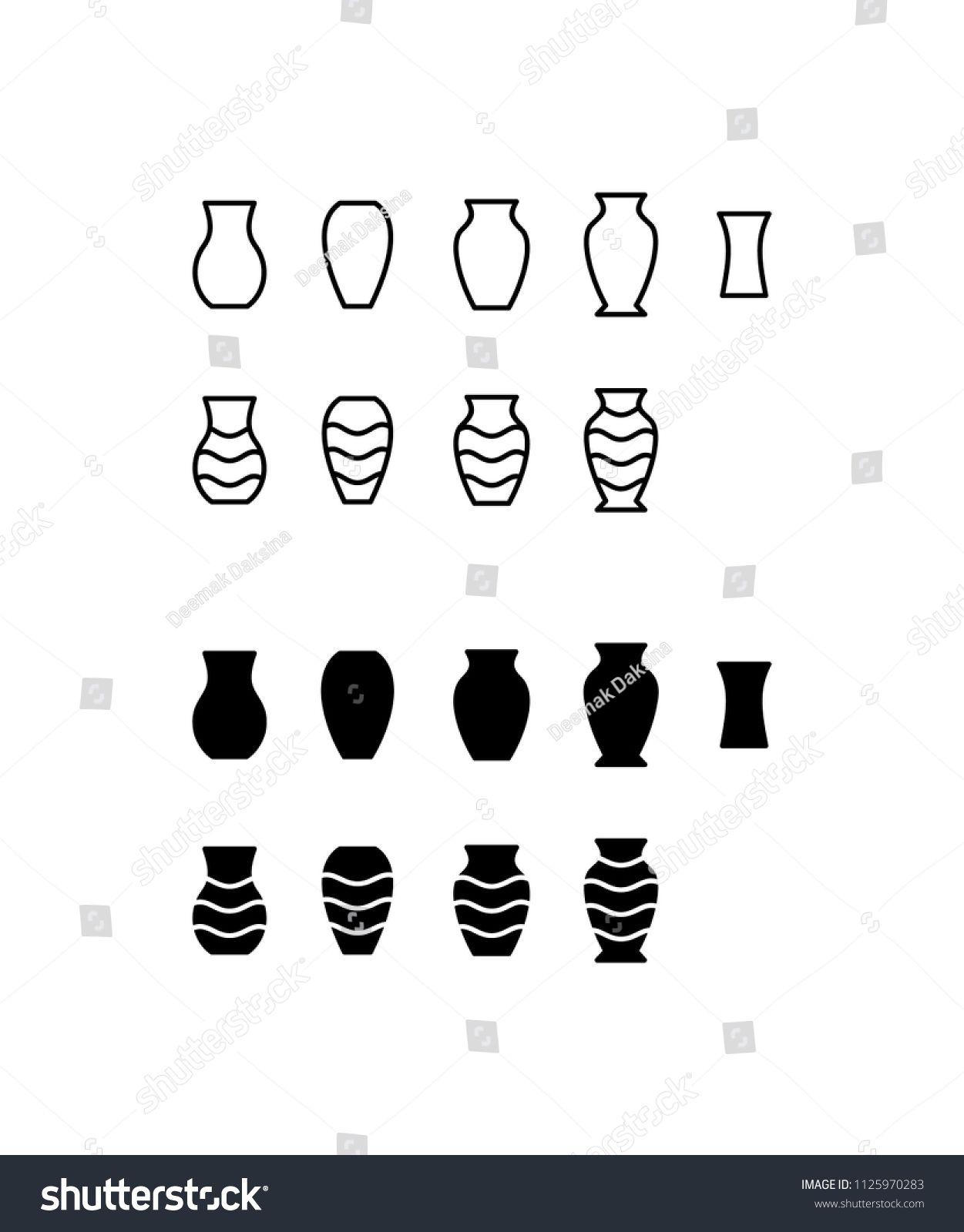 Vase Icon Set Vase Flower Decor Glass Pot Pottery Jug Icon Logo Vector Symbol Set Sign Design Button Logo Design Vector Logo Icon Design