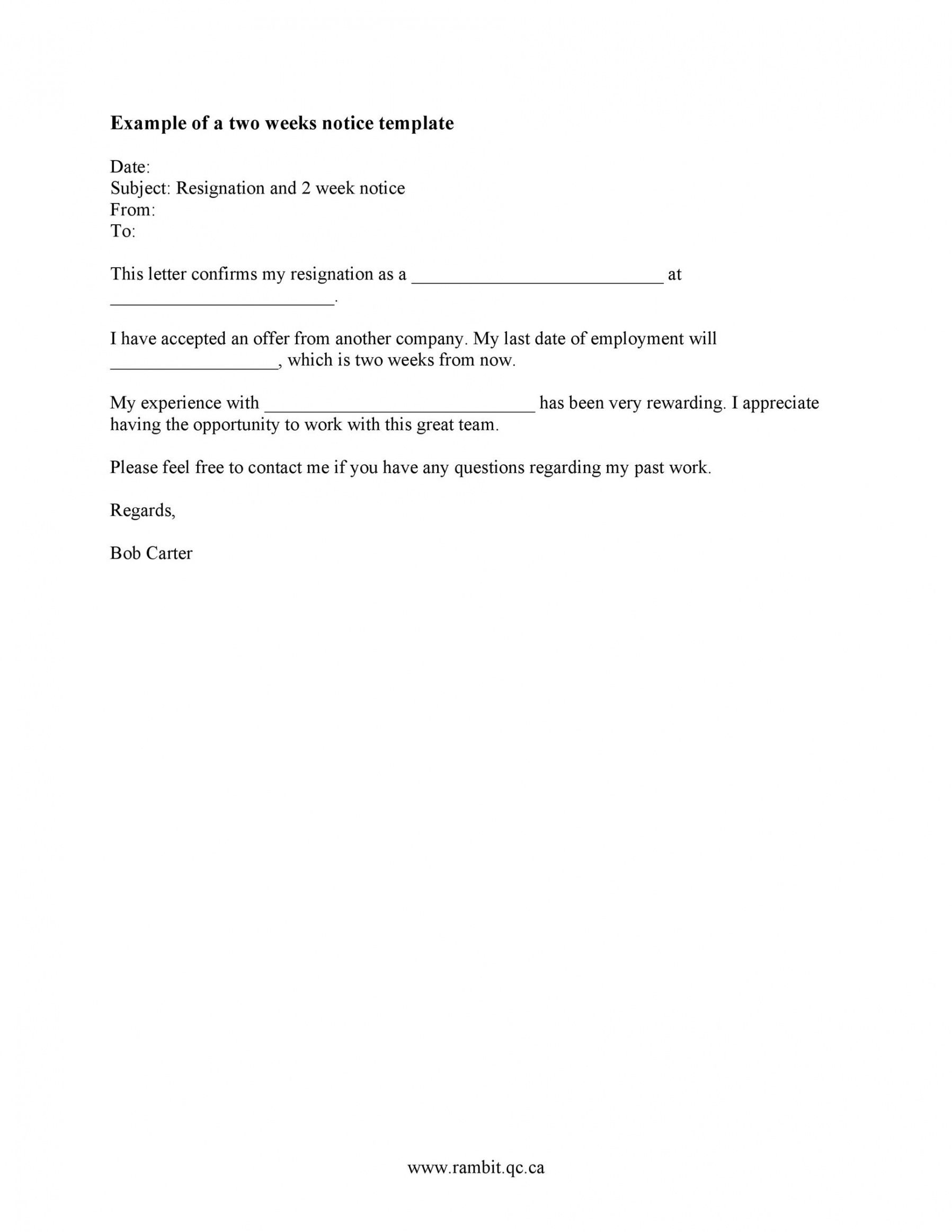 Best Two Weeks Notice Email Template Word Example In 2021 Letter Template Word Letter Templates Letter Example 2 weeks notice email template