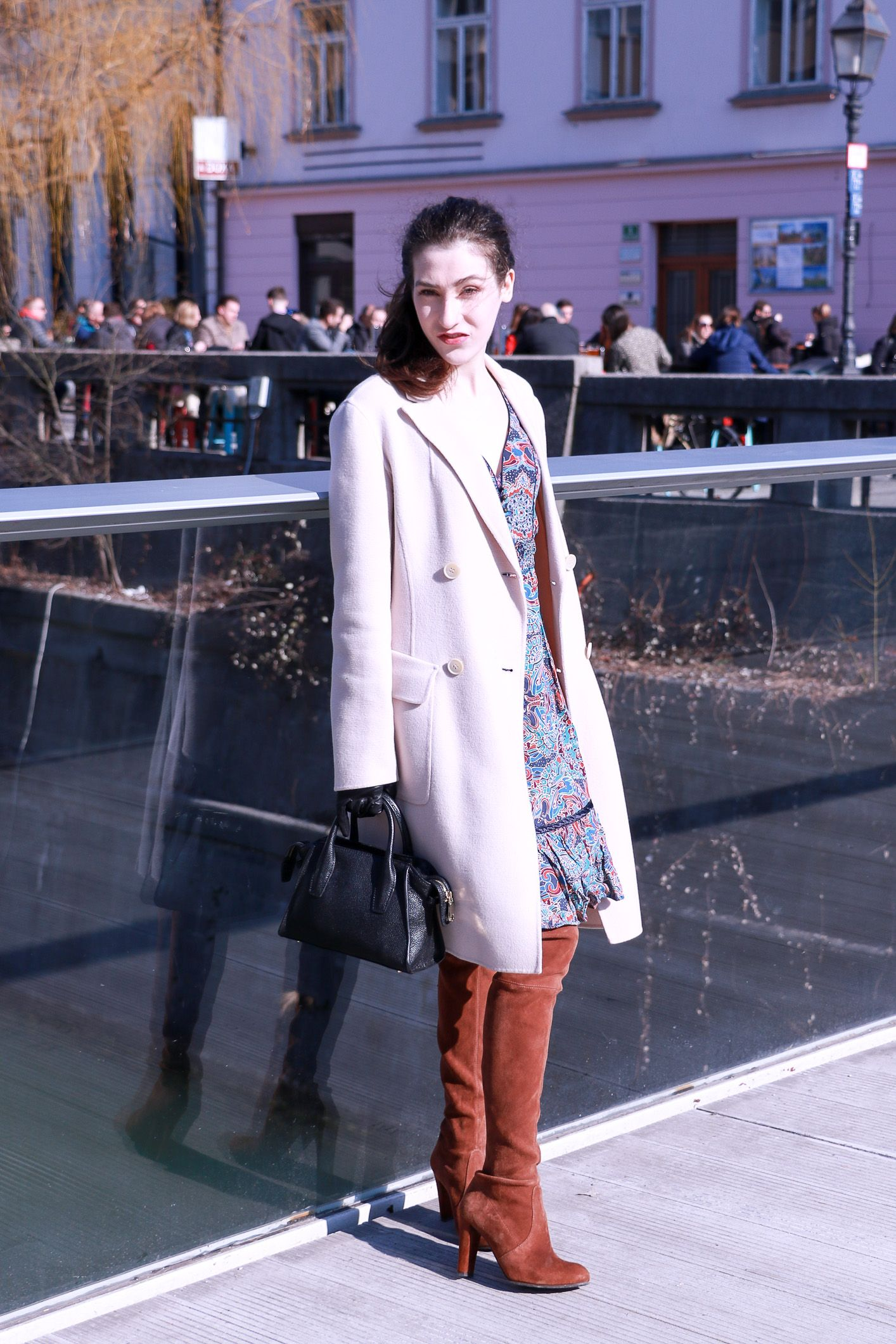 722244b0a Fashion blogger Veronika Lipar of Brunette From Wall Street sharing how to  style a bohemian dress and the OTK boots