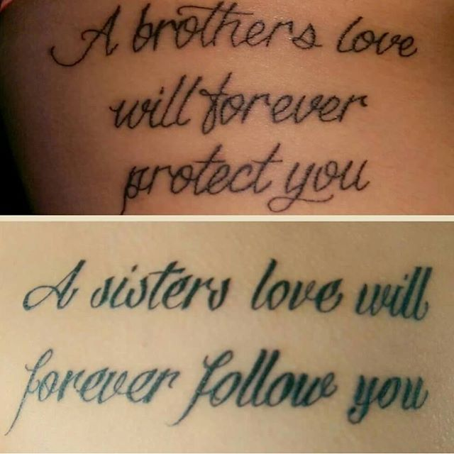 Brother and sister brother and sister tattoo pinterest for Brotherly love tattoo