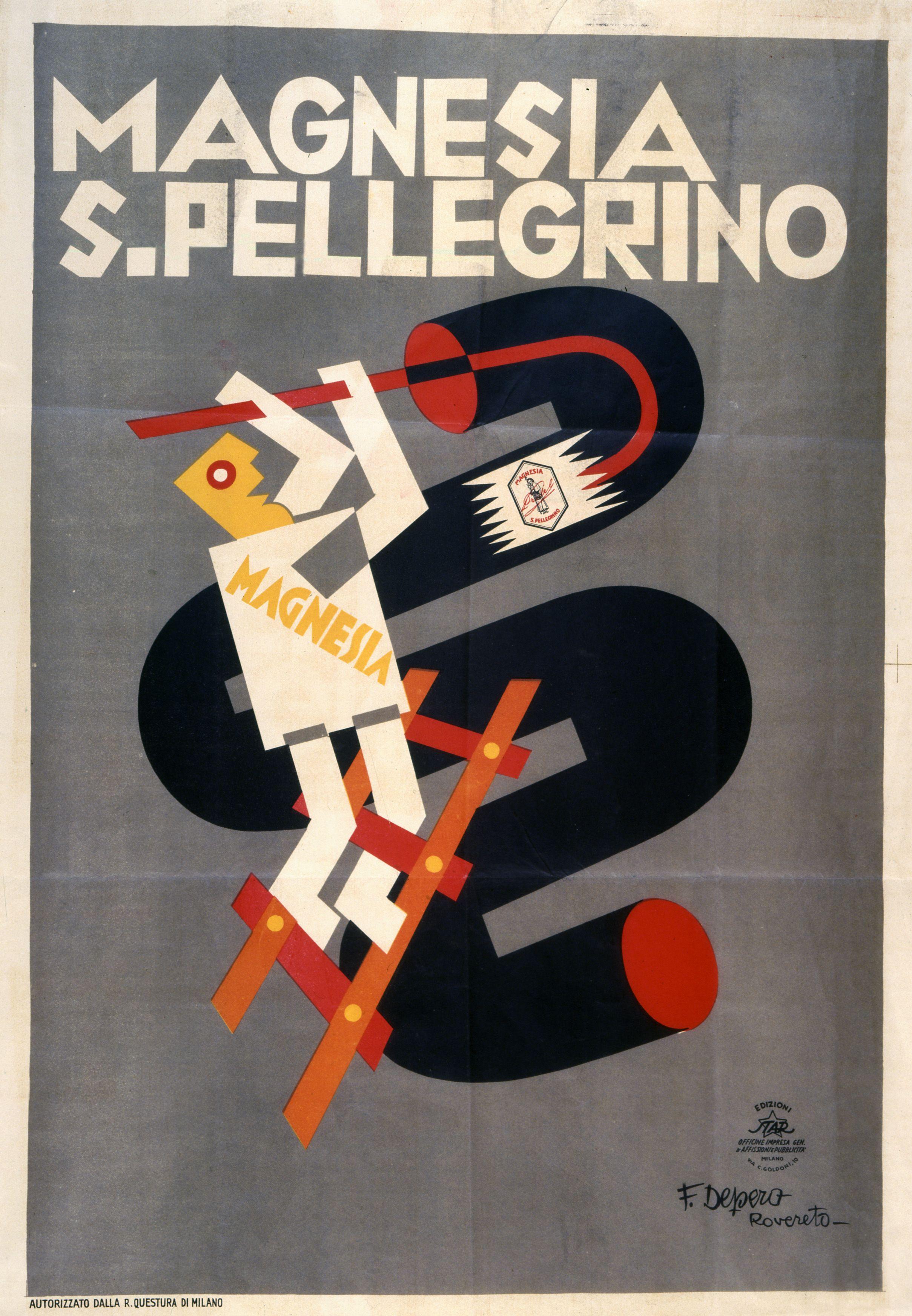 Manifesto Pubblicitario Magnesia S Pellegrino Fortunato Depero 1928 30 Courtesy Mart Museo Manifesto Pubblicitario Vecchie Pubblicita Pubblicita Vintage