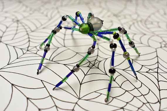Purple, green, and black beaded spider Specially handmade for the - halloween decorations for your car