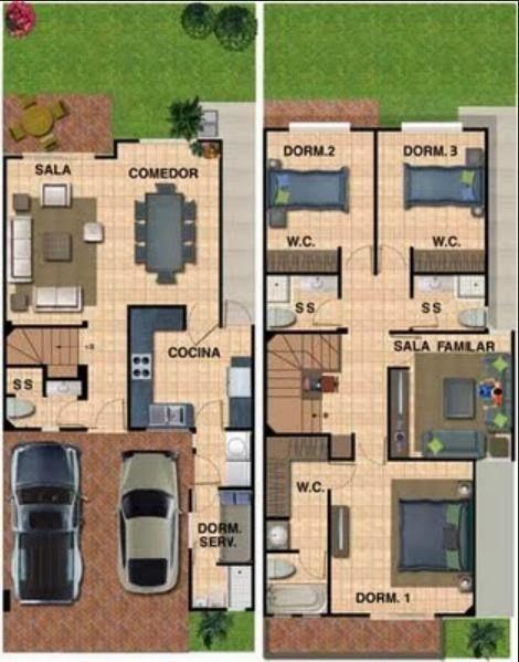 planos de casas modernas de 2 niveles
