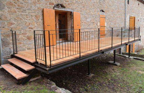 terrasse acier  bois - fil-1 Gardens in 2018 Pinterest - Terrasse Sur Pilotis Metal