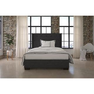 Shop For Dhp Eden Grey Wingback Upholstered Bedget Free Delivery Best Bedroom Designer Online Free Decorating Design