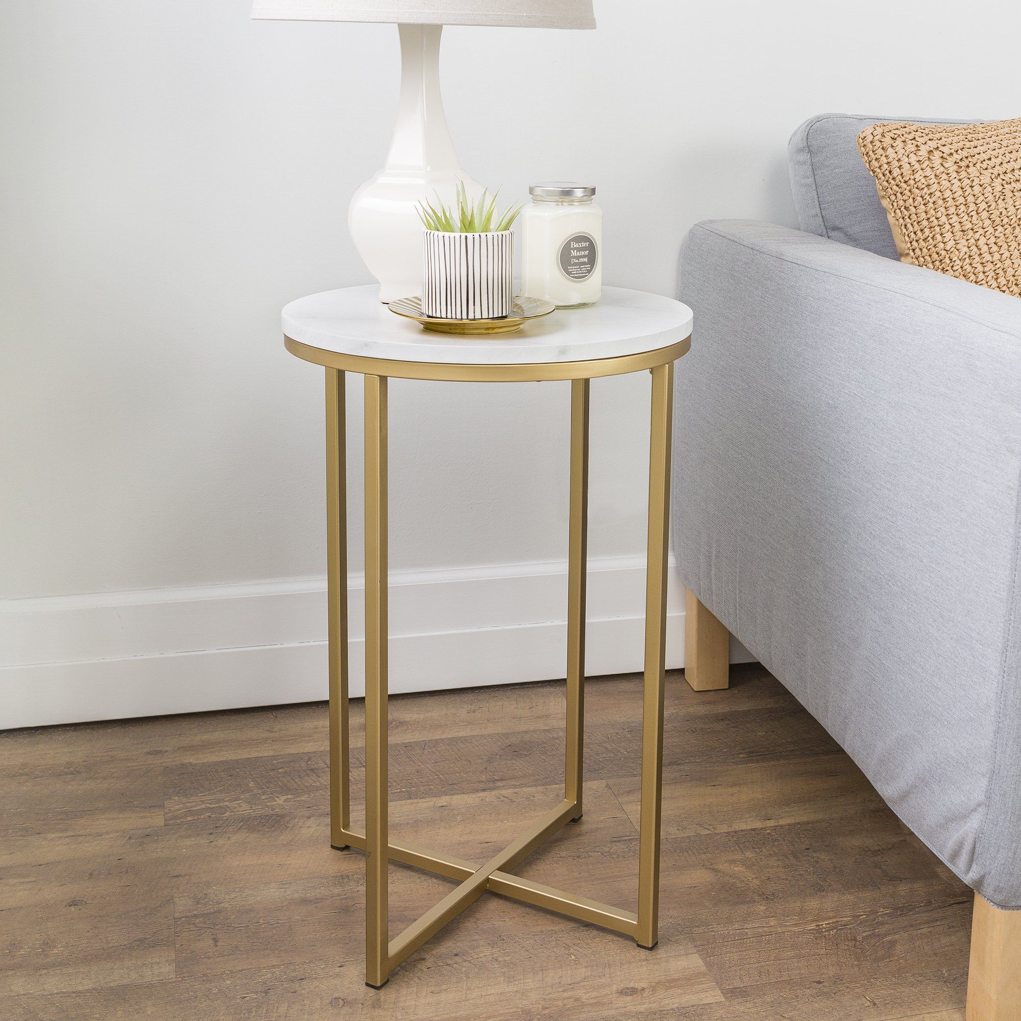 Daisy White Faux Marble And Gold Round End Table By Ember Interiors Walmart Com Table Decor Living Room Living Room Side Table Side Table Decor
