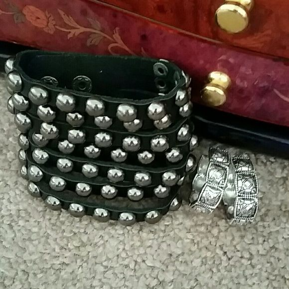 Studded bracelet and earrings 7 row studded snap bracelet and Monet earrings Jewelry Earrings