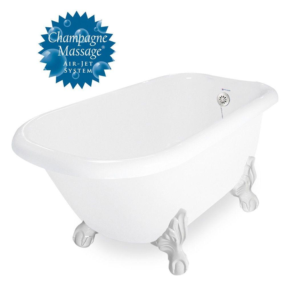 American Bath Factory Champagne Trinity 60 White Acrastone Tub