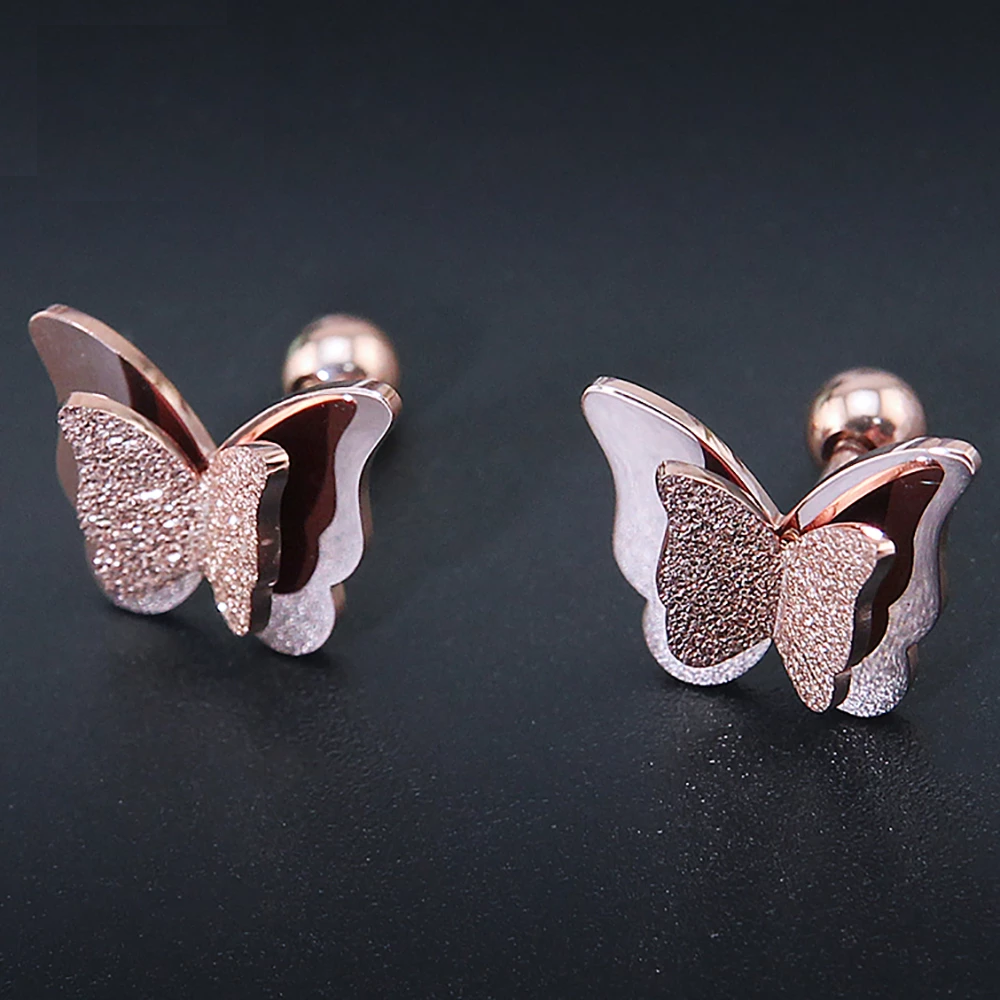 Stainless Steel Shining Butterfly Stud Earrings Love butterflies Here is a cute pair for your ears Order and get them now Link in bio The double butterfly design with shi...