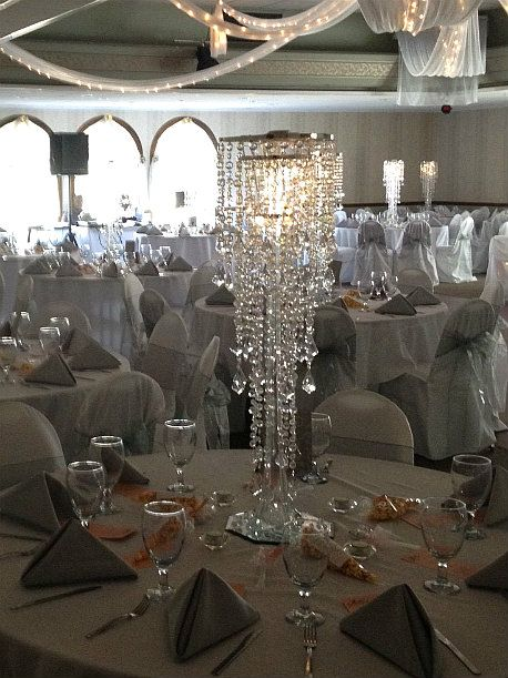 crystal wedding centerpieces crystal chandelier wedding centerpiece rental ohio - Wedding Decor Rentals