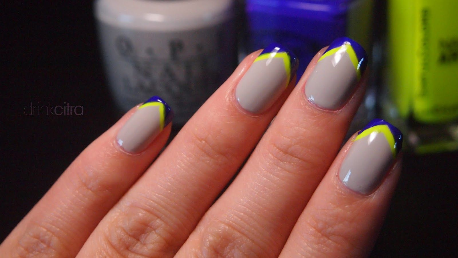 gray and neon yellow nails, love the touch of navy! | nails ideas ...