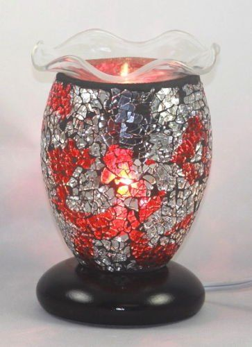 Electric Tart Burner Aroma Lamp Oil Warmer Red Mosaic Style With Dimmer Switch 75 Tall 45 Dish Which Easily Fits Ful Tart Burner Electric Oil Burner Oil Warmer