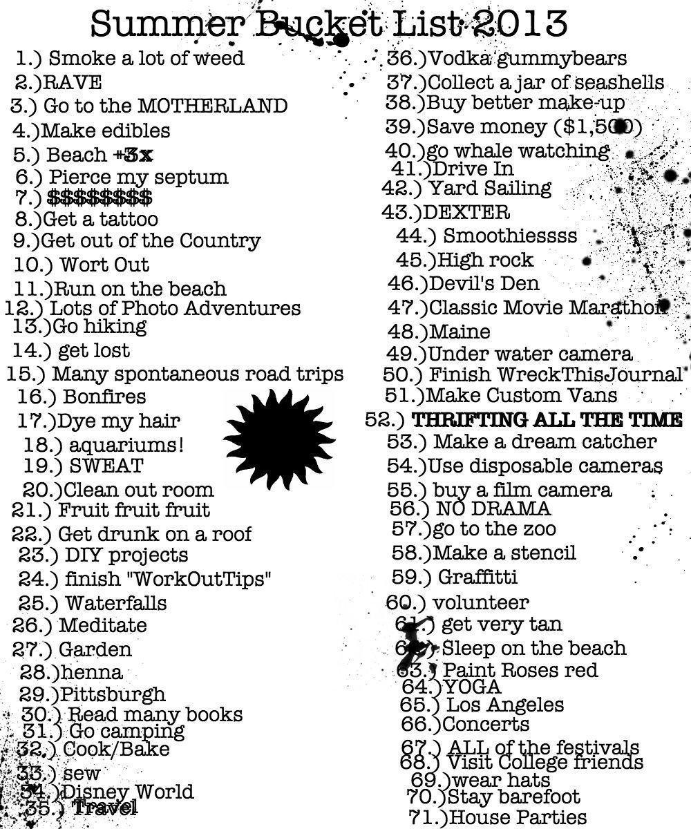 Some Of These For Sure Summer Bucket List Tumblr Bucket List