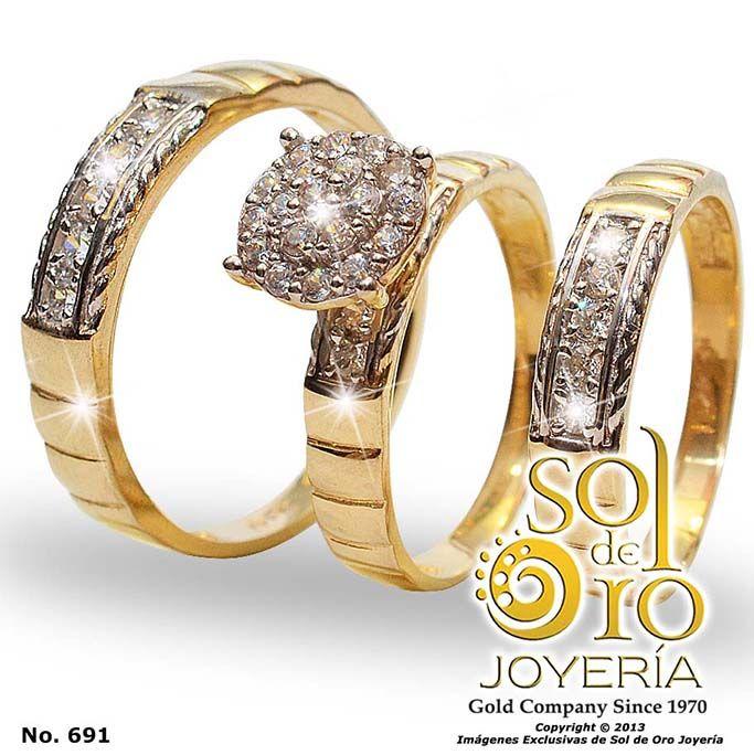 Trío de boda en oro 14k con zirconia RD$26,000