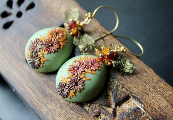 Hessonite, Pyrope garnet  with clay floral detail, artistic wire mesh and crystal  - Bali 24k vermeil earrings  - When Fairies Dream ... via Etsy