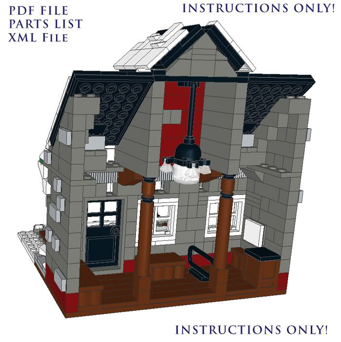 Lego Custom Winter Village Train Station Instructions On