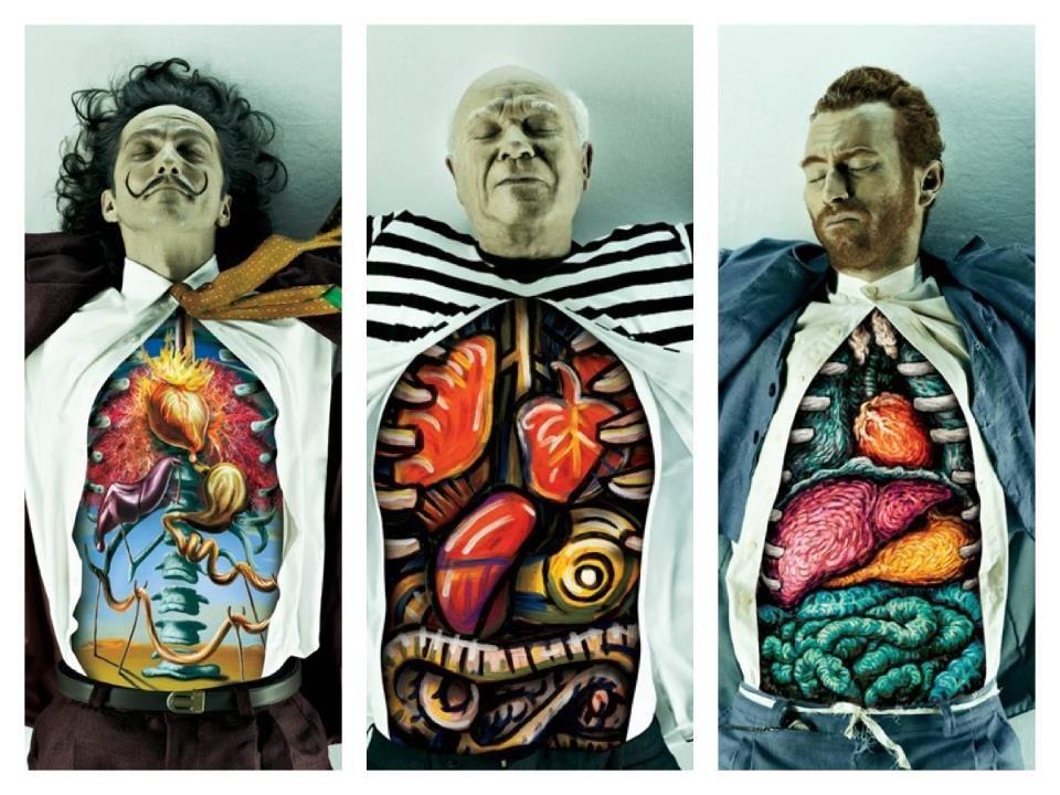 Human anatomy of Salvador Dali, Pablo Picasso and Vincent Van Gogh ...
