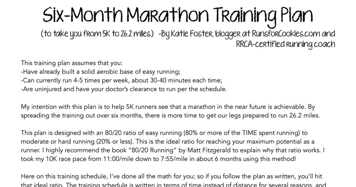 RfC 6 Month Marathon Training Plan PDF pdf | running