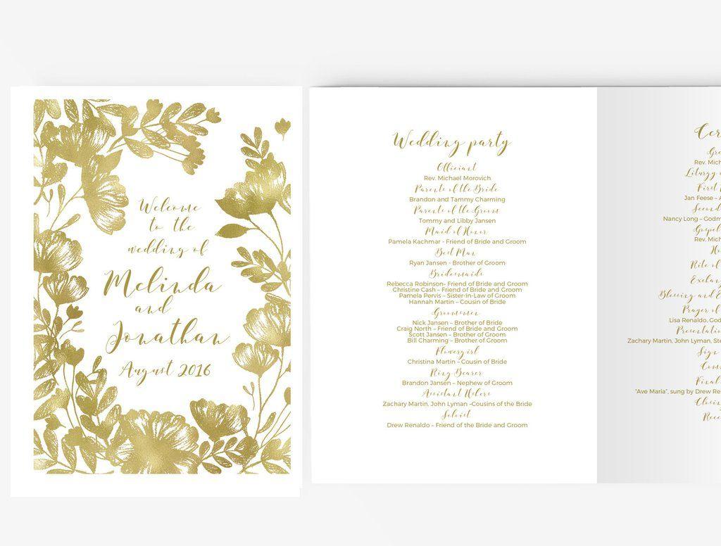 Wedding Program Booklet Diy Editable Ms Word Template Floral