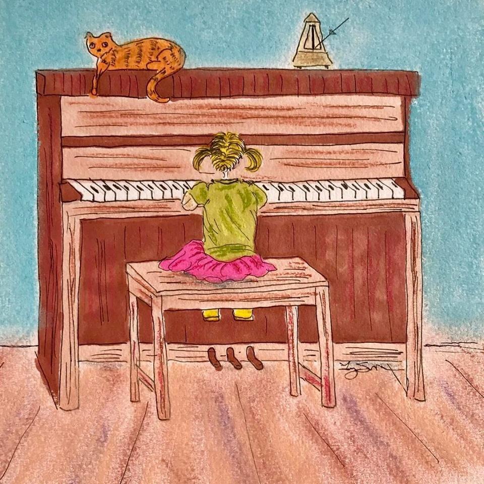 #pianolessons #littlegirlplayingpiano #ilovemusic #readingmusic #lookatmego #facelessfriends