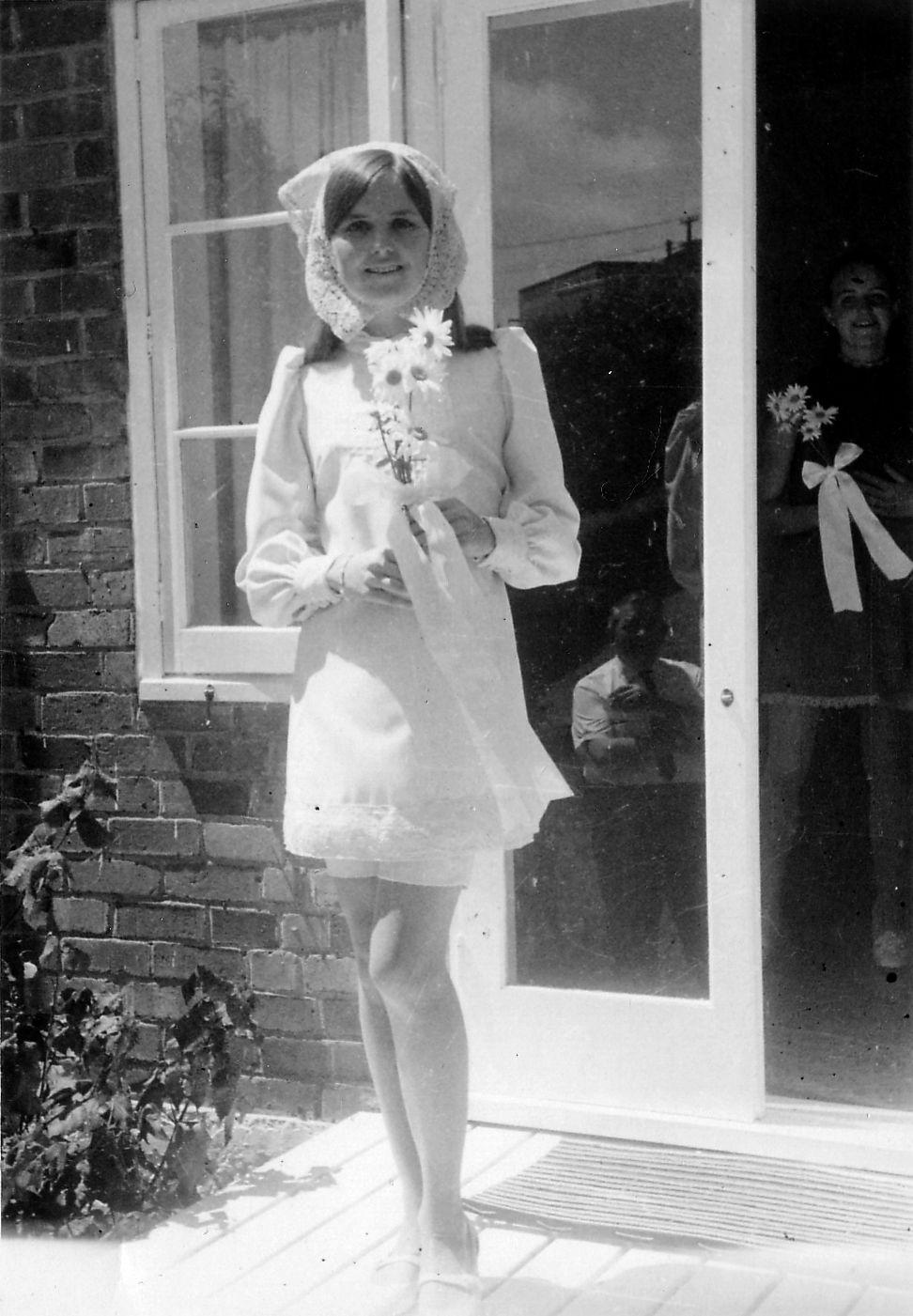 In the late s brides often wore white mini wedding dresses