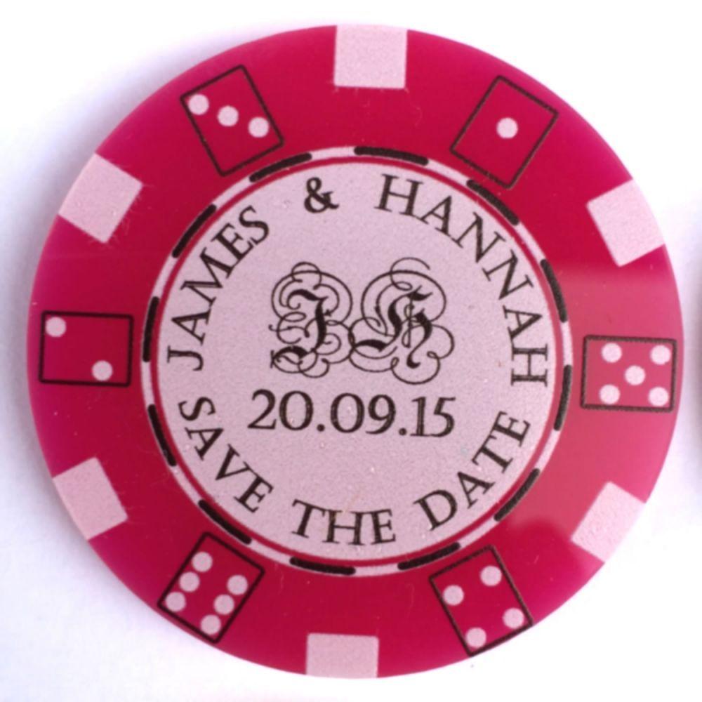 Poker Chip Save the Dates Personalised Casino Wedding Theme Invites ...
