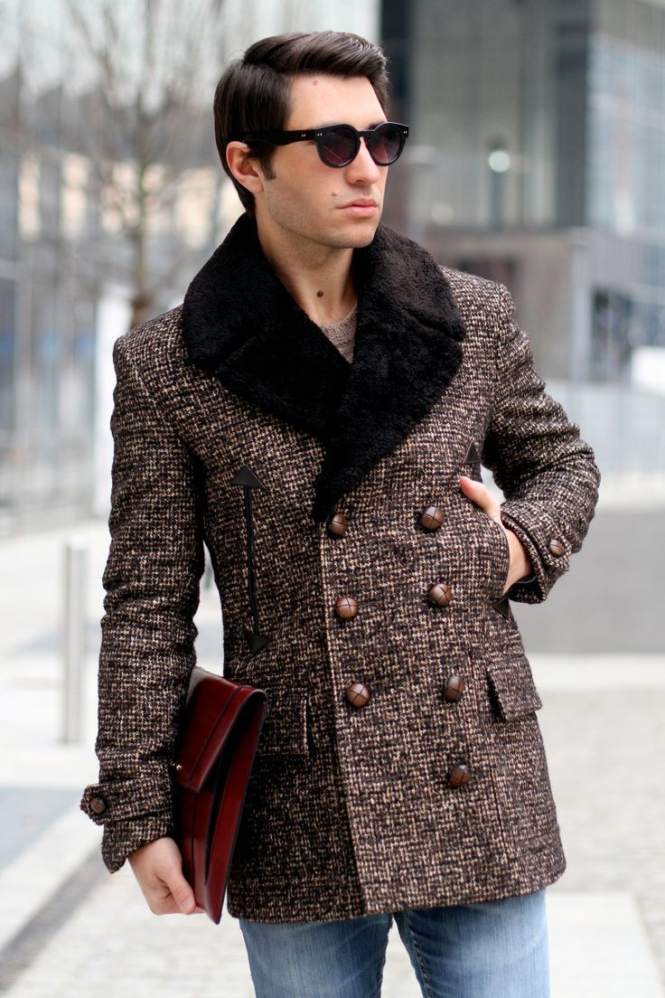 Men's jacket collar - Men S Dark Brown Fur Collar Coat Brown Crew Neck Sweater Blue Jeans Black Sunglasses