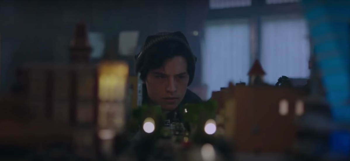 Jughead From Riverdale trailer looking intensely at a