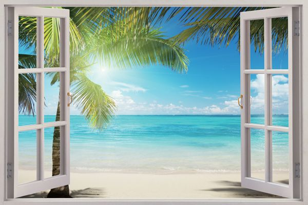 Window View Murals In 2019 Window Mural Beach Mural
