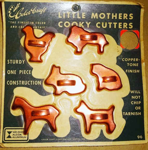 Vintage Cookie Cutters Color Craft Little Mothers Cooky Cutters NEW miniature aluminum childs cooking toy