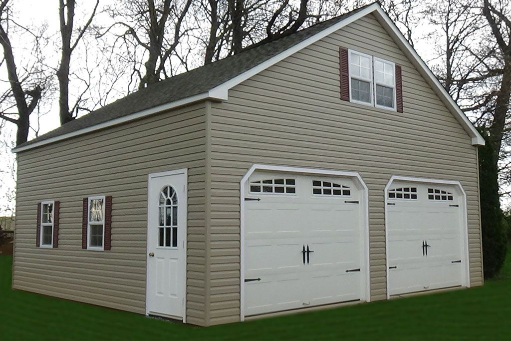 2 Story Double Wide Garage Vinyl Amish Backyard Structures Backyard Structures Garage Doors Garage Door Styles