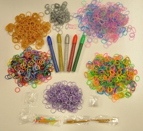 2700 Pcs Rainbow Colors Loom Bands, Silver and Gold, Glow in the Dark, Neon Rubber Bands, Tie Dye Rubber Bands, Mixed Rainbow Looms Plus 5 Count Glitter Glue Pen