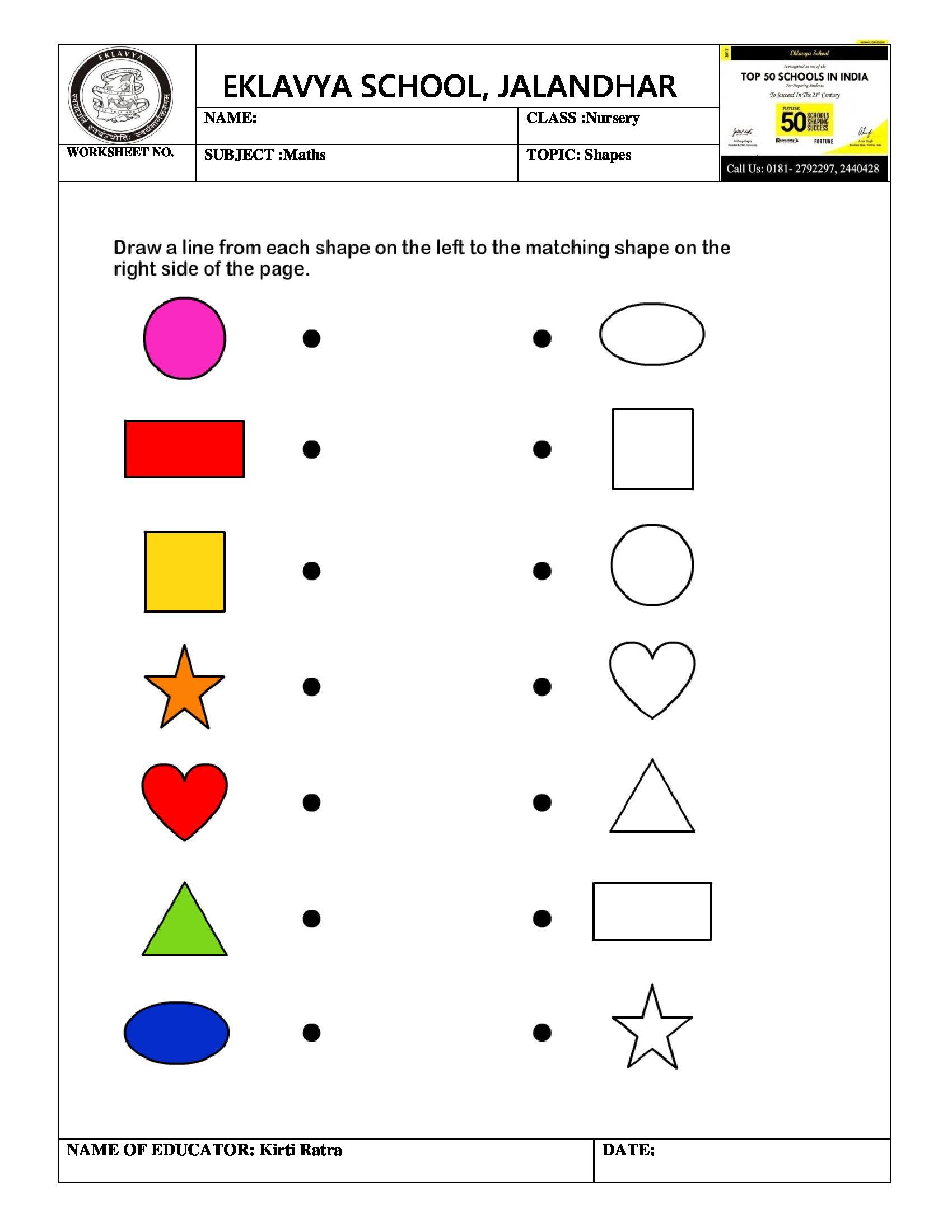 Worksheet On Shapes | Pre- Primary Worksheets | Kindergarten ...