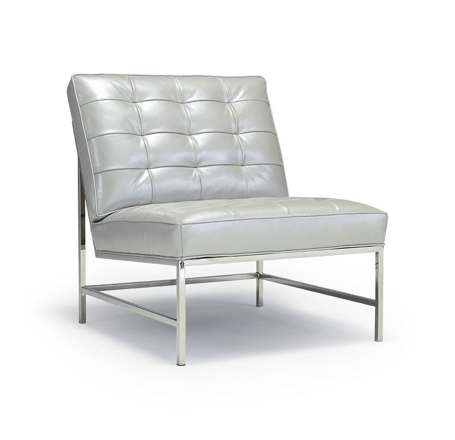 Major Leather Chair Polished Stainless Steel Finish