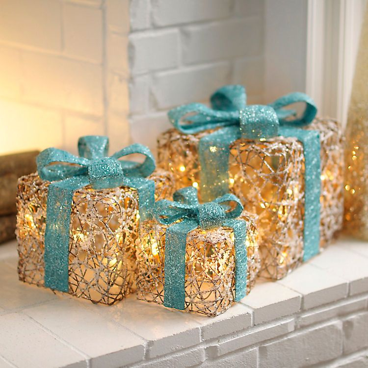 Kirklands Christmas Decorations: Pre-Lit Iced Turquoise Gift Boxes, Set Of 3