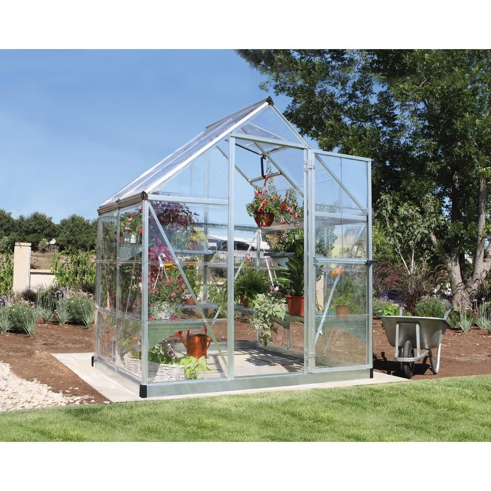 Palram Victory Orangery 10 Ft X 12 Ft Garden Chalet Greenhouse 702422 The Home Depot Polycarbonate Greenhouse Greenhouse Hobby Greenhouse
