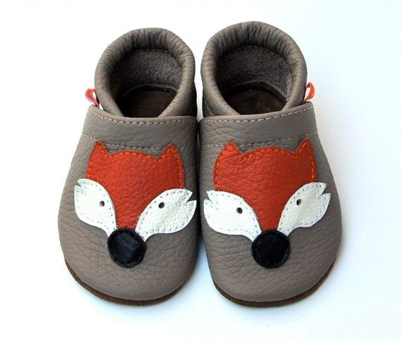 Fox Personalized Leather Baby Shoes, Soft Sole Shoes, Dedee