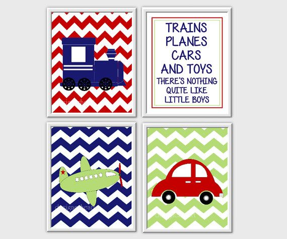 Boys Room Decor Baby Boy Nursery Art Trains Planes Cars Little Red Blue Green 4 Print Set CUSTOMIZE COLORS