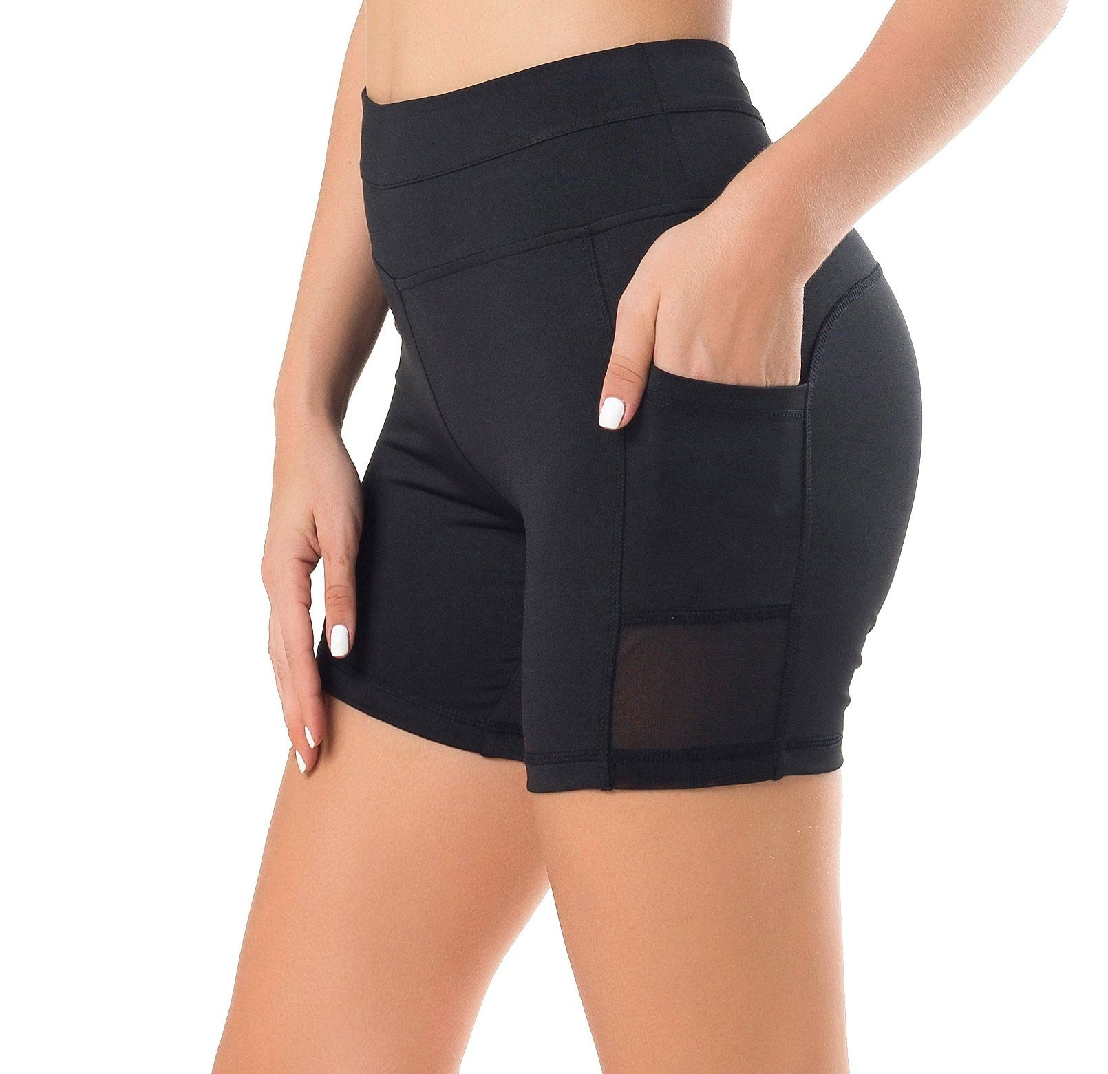 cdbda7d42b830 Sudawave Womens Mesh shorts Workout Yoga Pants Running With Side Pocket  (Large, Black). These shorts equipped with mesh inserts and side pocket.