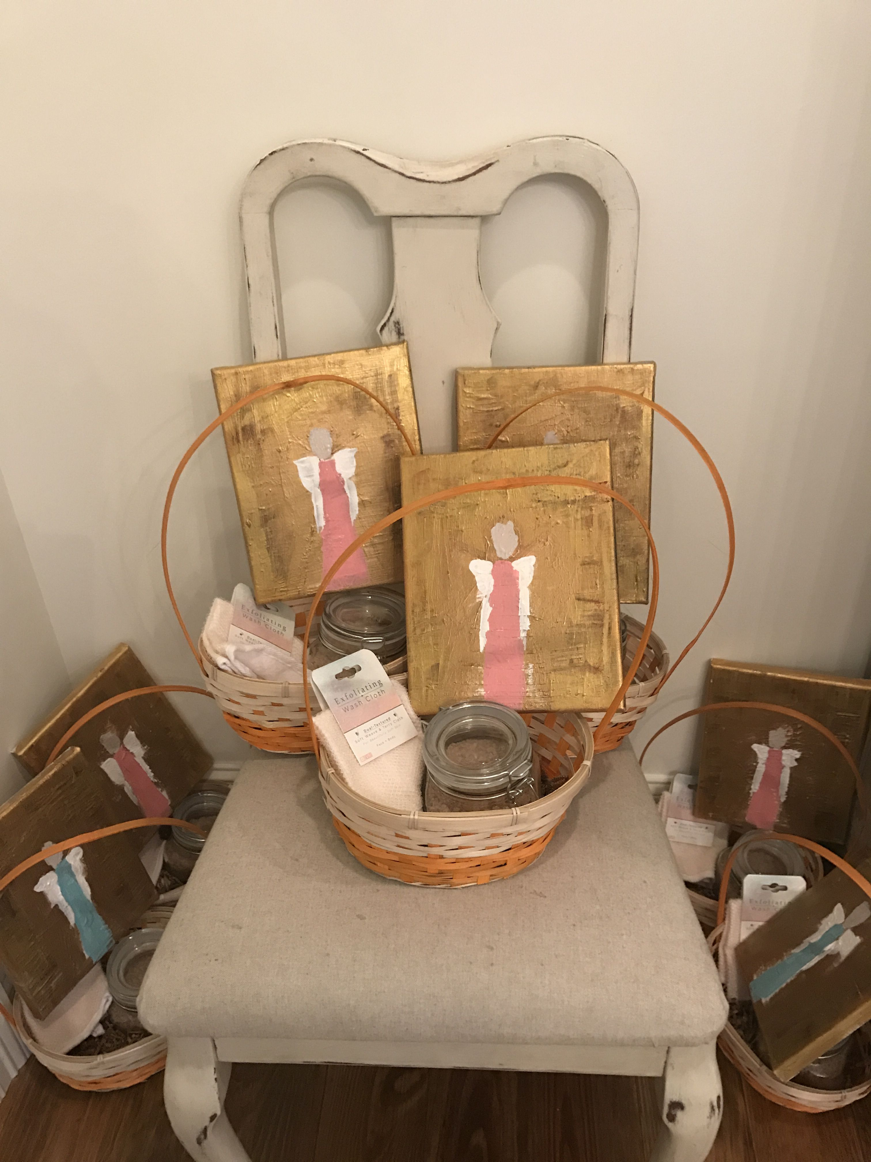 Baby shower hostess gifts painted angels and homemade sea