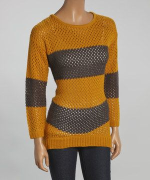 This Mustard & Charcoal Stripe Sweater by Yoki is perfect! #zulilyfinds
